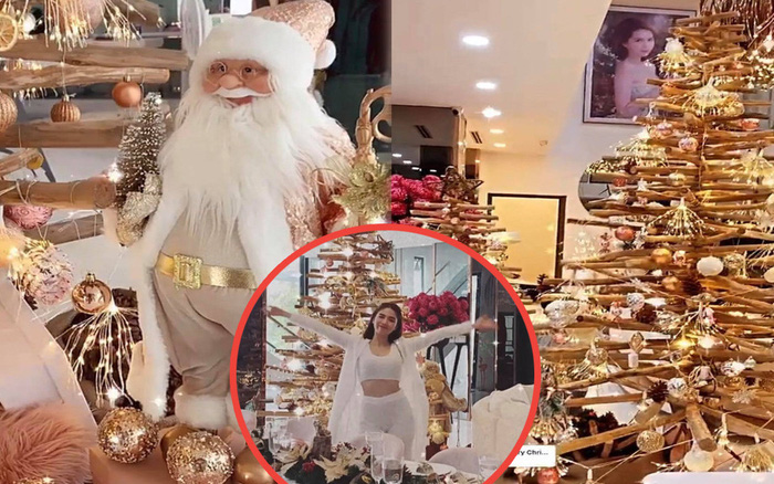 """Ngọc Trinh """"dát vàng"""" biệt thự 40 tỷ đón Giáng sinh: Mới hé lộ sương sương đã khiến dân tình choáng ngợp"""