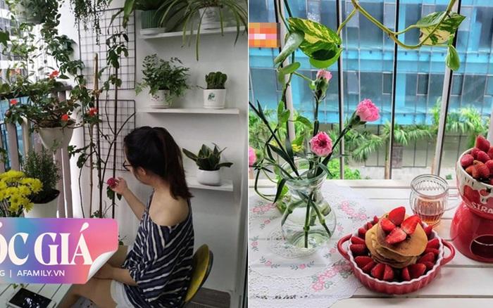 Học vợ đảm Hà Nội cải tạo ban công nhỏ hẹp 3m² thành khu vườn nhỏ xinh chỉ với chi phí tiết kiệm 1 triệu đồng