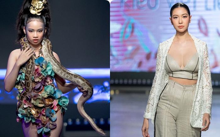Mẫu nhí Bảo Hà catwalk với trăn khổng lồ, Á hậu Thúy Vân diện crop top khoe vòng eo sau sinh 2 tháng tại Fashion Festival 2020