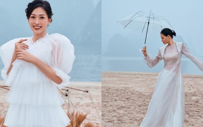 Á hậu Phương Nga diện áo dài cách tân mỏng manh