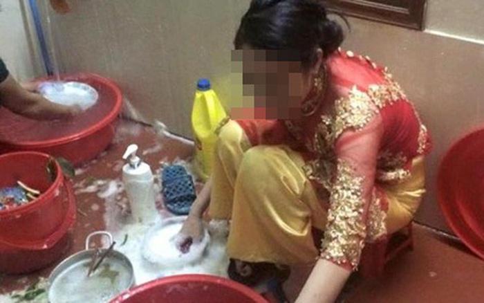 Chưa thay váy cưới họ hàng đã sai dâu mới đi rửa bát, cô nhanh trí