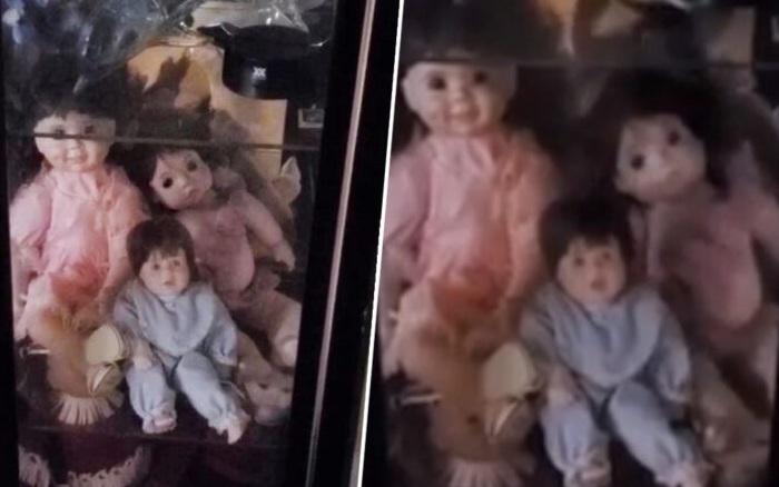 Ở nhà một mình, chồng bị những con búp bê tự cử động trong tủ ...