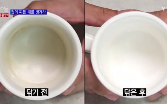 """Tẩy vết ố trên cốc sứ trong chớp mắt cực hiệu quả với 3 nguyên liệu """"cho ..."""