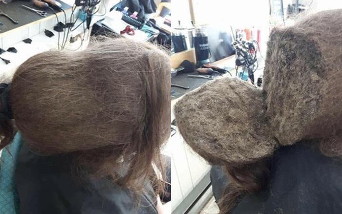 Mang mái tóc bết nhiều năm không cắt đến tiệm đòi phục hồi, ...