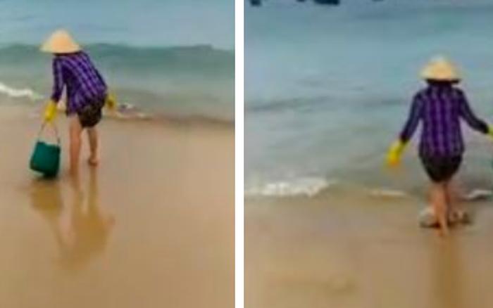 Đổ rác xuống biển bị nhắc nhở, người phụ nữ liền lên giọng thách thức: