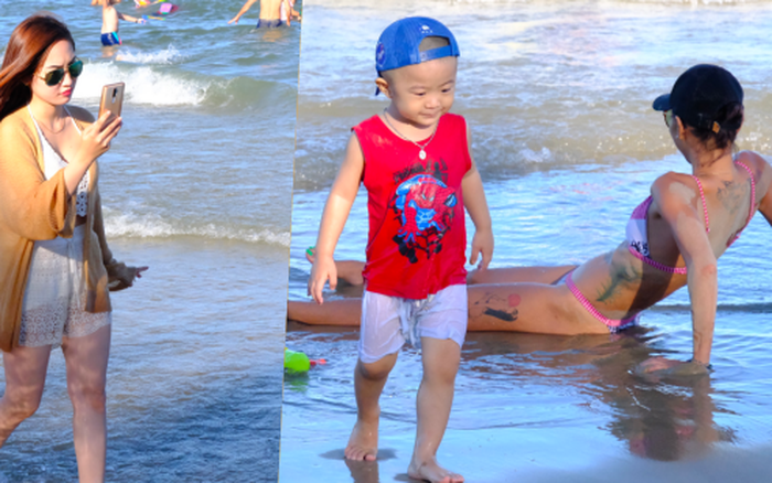 Bãi biển Vũng Tàu đông nghịt du khách, trẻ con thoải mái vui ...