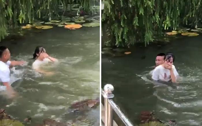 Clip gây phẫn nộ: Nhóm nam sinh hùa nhau ném bạn nữ xuống hồ nước