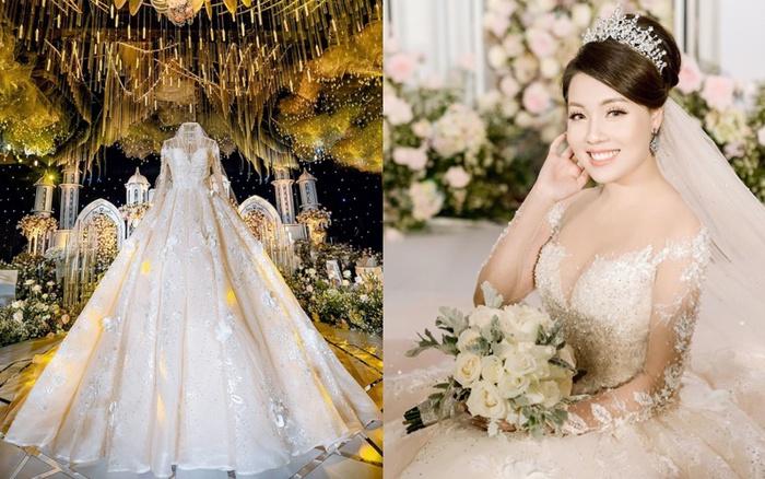 Trước khi bị phụ bạc, Âu Hà My từng sang như bà hoàng khi diện 3 mẫu váy cưới đính kim cương giá 1 tỉ đồng trong đám cưới cổ tích