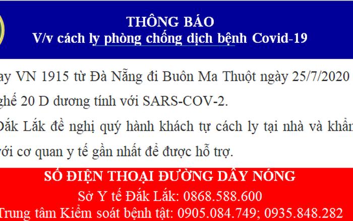 Đắk Lắk ra thông báo khẩn liên quan chuyến bay về từ Đà Nẵng