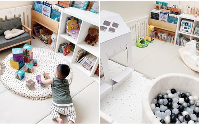 Đã mắt với cách tạo khu vui chơi trong phòng khách của bà mẹ Hà Nội: Kích thích sáng tạo, phát triển tư duy cho con mà vẫn đẹp không gian sống