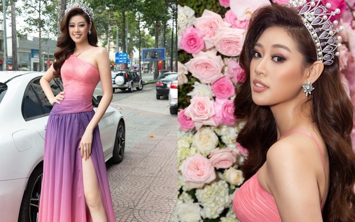 Hoa hậu Khánh Vân ngày càng đẹp mặn mà nhưng chiếc váy xẻ cao đến tận đùi mới gây chú ý