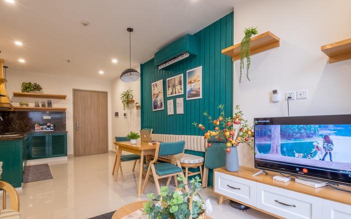 Căn hộ 54m² đẹp cuốn hút với gam màu xanh gần gũi với thiên nhiên có chi phí hoàn thiện nội thất 150 triệu đồng ở Hà Nội