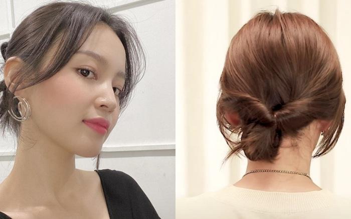 Tóc lỡ cỡ vẫn búi kiểu Hàn siêu xinh: 3 cách búi thấp giúp chị em