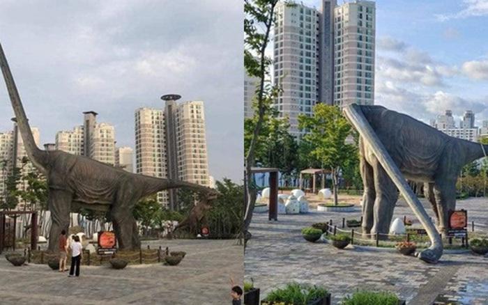 Cứ tưởng chú khủng long đứng quá lâu mỏi cổ phải gục xuống nghỉ nhưng lý do thực sự phía sau khiến ai cũng bất ngờ