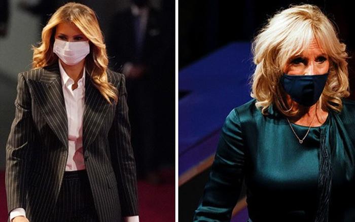 Đệ nhất phu nhân Mỹ Melania Trump đóng bộ suit hàng hiệu cùng gia đình chạm trán quý phu nhân phía đối thủ Joe Biden trong cuộc tranh luận Tổng thống