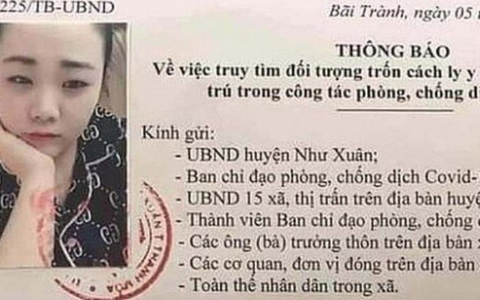 Thanh Hóa truy tìm cô gái sinh năm 1993 bỏ trốn cách ly