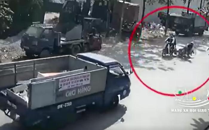 Clip: Phanh gấp khi thấy xe phía trước chuẩn bị sang đường, nam thanh niên ngã xuống bị xe tải cán tử vong thương tâm