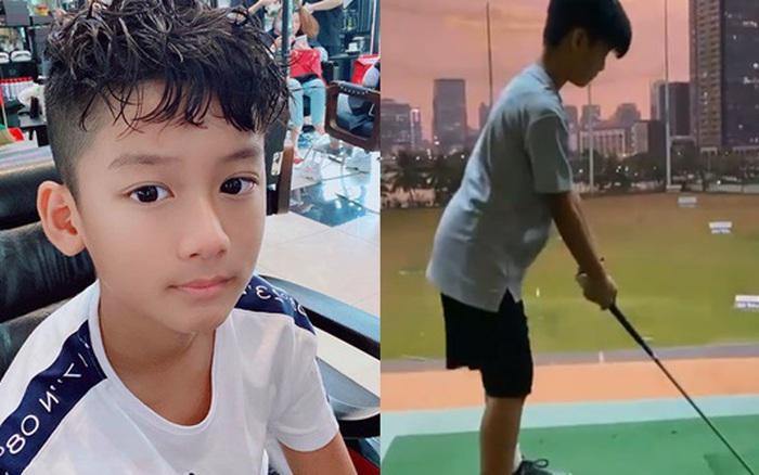 Con trai Lệ Quyên mới 9 tuổi đã đánh golf chuyên nghiệp như người lớn, nhìn vóc dáng lại càng gây ngỡ ngàng hơn