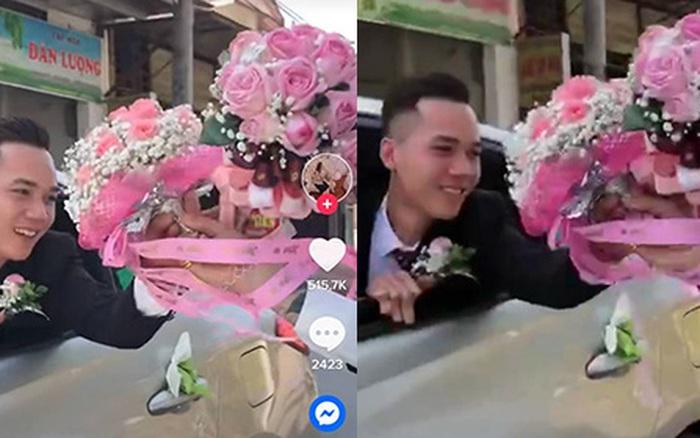 """Đám cưới gây chú ý với màn 2 xe rước dâu đổi hoa cho nhau, nhưng nhan sắc """"cực phẩm"""" của chú rể mới """"hút like"""" rần rần"""
