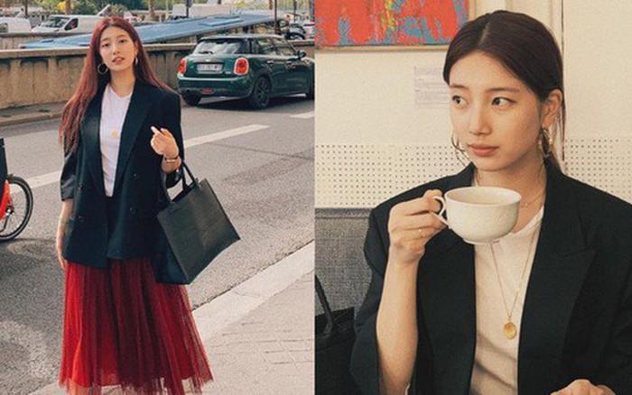 Suzy vẫn xinh quá đỗi nhờ khéo lên đồ đơn giản mà nịnh mắt, để nhiều kiểu tóc ...