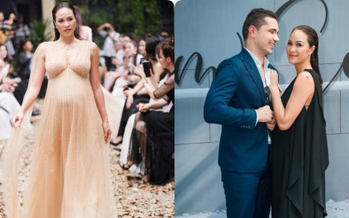 MC Phương Mai bụng bầu 8 tháng vẫn được chồng tháp tùng đi diễn thời trang
