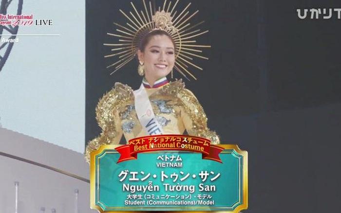 Chung kết Miss International 2019: Tường San xuất sắc giành giải Trang phục dân tộc đẹp nhất