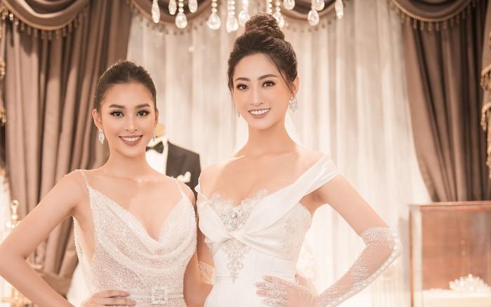 2 cô gái vàng trong làng Hoa hậu: Tiểu Vy và Thùy Linh khoe nhan sắc một ...