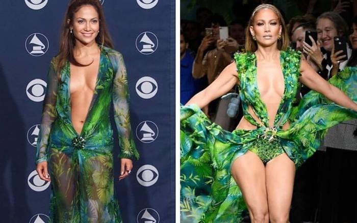 Jennifer Lopez kết màn show Versace bằng bộ váy đã mặc cách đây 20 năm,